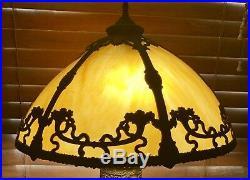 Antique Slag Glass Lamp Bradley & Hubbard, Handel Era Excellent Lamp