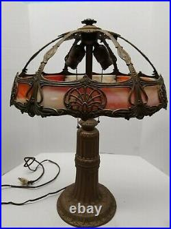 Antique Slag Glass Lamp Leaded Base with 8 Camel Bent Panel Shade