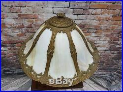 Antique Slag Glass Lamp Lighted Base Handel Miller B&H Era Excellent Condition