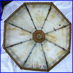 Antique Slag Glass Lamp Shade Panel Brass Bronze construction 17-5/8 x 9