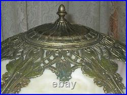 Antique Slag Glass Lighted Base Panel Lamp