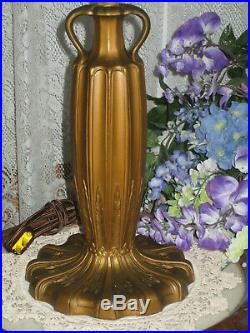 Antique Slag Glass Panel Electric Table Lamp Urn Handled Base