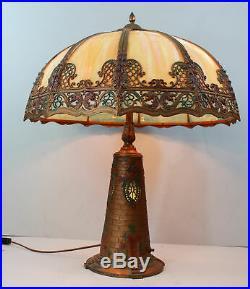 Antique Slag Glass Panel Lamp with Unique Blinking Lighthouse Lit Base