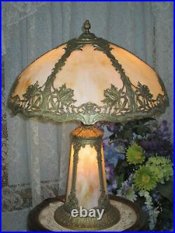 Antique Slag Glass Panel Table Lamp With Lighted Base
