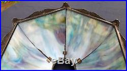 Antique Slag Glass Scenic Lamp Shade Miller, Salem Bros, Bradley & Hubbard