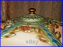 Antique Slag Glass Table Lamp 12 Panels
