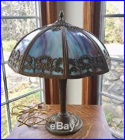 Antique Slag Glass Table Lamp, Floral Pattern