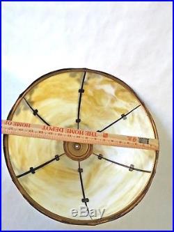 Antique Slag Glass Tiffany style Table Lamp 6 Panel
