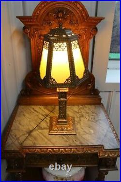 Antique Small Ornate Boudoir Vanity Slag Glass Table Lamp Figural Base