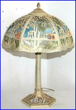 Antique Stunning Arts & Crafts 12 Panel Bent Slag Glass Silhouette Lamp B&h Era
