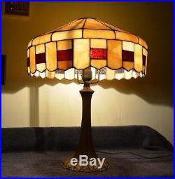 Antique Stunning Bent Slag Glass Table Lamp Wilkinson, Gorham, Bigelow & Kennard