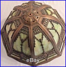 Antique Table Lamp with 8-Panel Slag Glass Shade Bradley Hubbard Miller Era