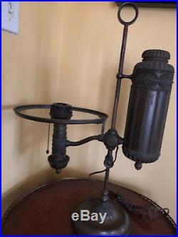 Antique Tiffany Studios Brass & Slag Glass Victorian Lamp Shade Rope & Ball