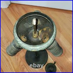 Antique Unique / Handel Leaded Slag Stained Glass Trumpet Style Lamp Base
