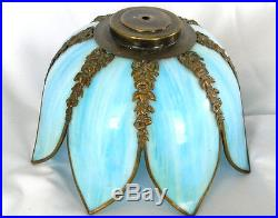 Antique VICTORIAN 25 Cast Iron TABLE LAMP w Blue Slag Glass Shade w 8 panels