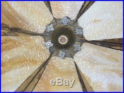 Antique VINTAGE WJ Bent Panel Slag Glass Table Lamp vine ornate base art crafts