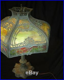 Antique Verdigris Stained Slag Glass Art & Craft Mission Tiffany Style Lamp 1925