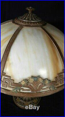 Antique Victorian Art Nouveau 6 Panel Stained Slag Glass Lamp A&r Co