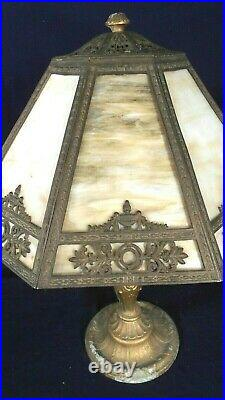 Antique Victorian Art Nouveau Slag Glass Lamp