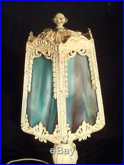 Antique Victorian Art Nouveau White Painted Metal Lamp With Slag Glass Shade