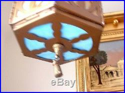 Antique Victorian Carmel & Blue Slag Glass Arts & Crafts Hanging Lamp
