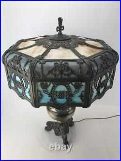 Antique Victorian Era Lamp 24 Panel Slag Glass Two Socket Electric Light