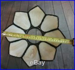 Antique Victorian Flower Petal Slag Glass, 8 Panel Lamp Shade