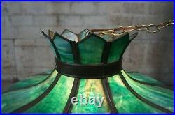 Antique Victorian Green Slag Glass Swag Light Chandelier Lamp Shade 23