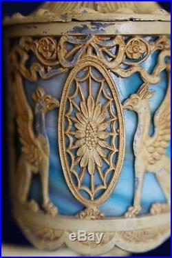 Antique Victorian Lamp Egyptian Sphinx Metal & Blue Slag Glass Table Lantern