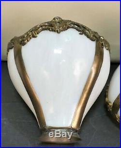 Antique Victorian Mission Arts&crafts Slag Glass Lamp Shades Set Of 4