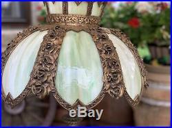 Antique Victorian Slag Glass Lamp