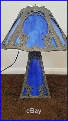 Antique Vintage 6 Top 4 Bottom Panel Blue Slag Glass Lamp Top & Bottom Light Up