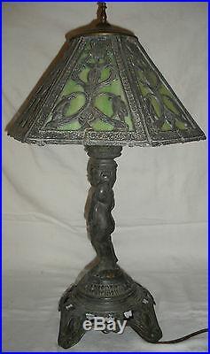 Antique Vintage Art Nouveau Stained Slag Glass Table Lamp & Shade Poul Hornison