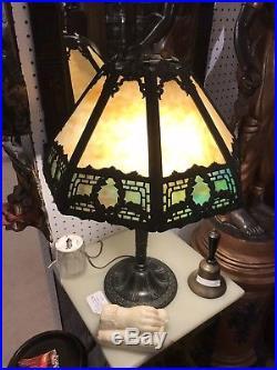 Antique, Vintage Beige Slag Glass Art Deco Table Lamp