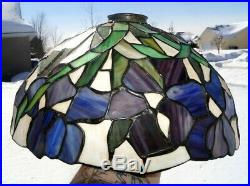 Antiques Antique Vintage Leaded Stained Slag Art Glass Lamp Shade Vines Foliage Pattern
