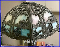 Antique Vintage Miller & Co Ornate Slag Stained Leaded Glass Lamp Handel Era