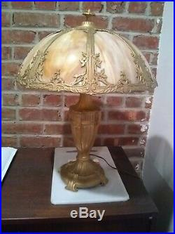Antique Vintage Stained Slag Glass 6 Panel Lamp