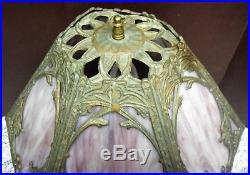 Antique Vtg 6 Top 4 Bottom Panel Purple Slag Glass Lamp Top & Bottom Light Up `