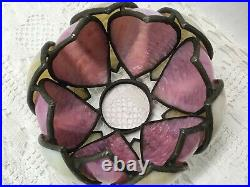 Antique Vtg Double Tulip Stained Glass Lamp Shade Bent Slag Pink Caramel 6, 2