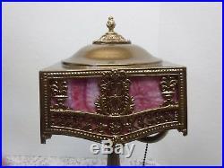 Antique Vtg Pittsburgh Pink Slag Glass Lamp Pbl&g Signed Art Nouveau