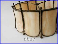 Antique Vtg Tiffany Style Slag Bent Stained Glass Lamp Shade Caramel Beige