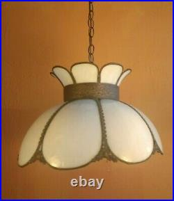 Antique Vtg Tulip Curved Slag Glass Hanging Lamp Shade Ornate Trim 8 panels