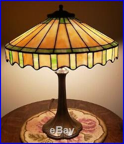 Antique Whaley Leaded Slag Stained Glass Priarie Table Lamp Handel Duffner Era