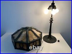 Antique Wilkinson Art Nouveau Carmel Slag Lead Glass Table Lamp