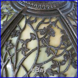 Antique ca 1920 Scenic Trees Filigree Slag Glass Lamp Jefferson Handel B&H Era