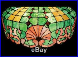 Antique leaded glass lamp stained glass slag glass duffner and kimberly mosaic