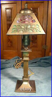 Antique slag glass 8 panel lamp circa 1900-1910