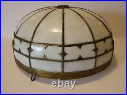 Antique slag glass brass semi flush ceiling light fixture shade