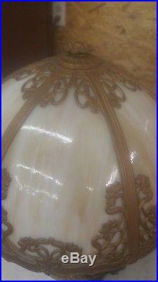 Antique slag glass table lamp