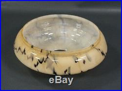 Art Deco Bohemian Loetz Vaseline Caramel Slag Glass Ceiling Fixture Lamp Shade